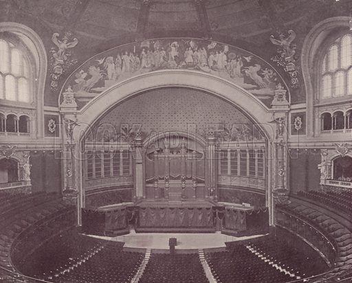"Concert Hall of Trocadero Palace. Illustration for Beautiful Paris with over 400 views taken by Mr A Pepper, Official Photographer of the French Government, with introduction by J W Buel (Arkell Weekly, 1894).  No further info found on ""Mr A Pepper""."
