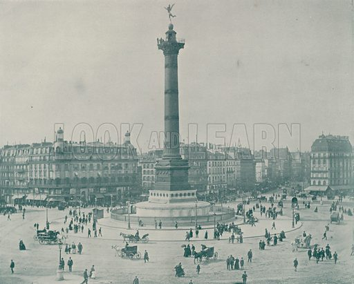 """Place de la Bastille. Illustration for Beautiful Paris with over 400 views taken by Mr A Pepper, Official Photographer of the French Government, with introduction by J W Buel (Arkell Weekly, 1894).  No further info found on """"Mr A Pepper""""."""