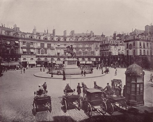 """Place des Victories. Illustration for Beautiful Paris with over 400 views taken by Mr A Pepper, Official Photographer of the French Government, with introduction by J W Buel (Arkell Weekly, 1894).  No further info found on """"Mr A Pepper""""."""