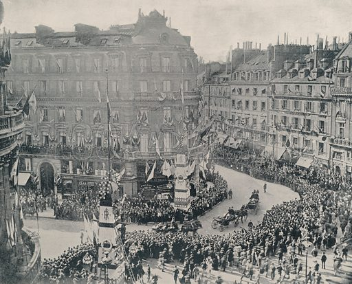 """Russians leaving the Military Club to visit Carnot. Illustration for Beautiful Paris with over 400 views taken by Mr A Pepper, Official Photographer of the French Government, with introduction by J W Buel (Arkell Weekly, 1894).  No further info found on """"Mr A Pepper""""."""
