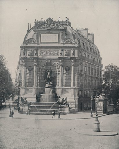 """Fountain of St Michel. Illustration for Beautiful Paris with over 400 views taken by Mr A Pepper, Official Photographer of the French Government, with introduction by J W Buel (Arkell Weekly, 1894).  No further info found on """"Mr A Pepper""""."""