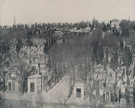 """Cemetery of Pere-Lachaise. Illustration for Beautiful Paris with over 400 views taken by Mr A Pepper, Official Photographer of the French Government, with introduction by J W Buel (Arkell Weekly, 1894).  No further info found on """"Mr A Pepper""""."""