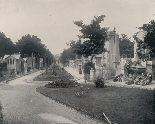 """Principal Avenue in Pere-Lachaise Cemetery. Illustration for Beautiful Paris with over 400 views taken by Mr A Pepper, Official Photographer of the French Government, with introduction by J W Buel (Arkell Weekly, 1894).  No further info found on """"Mr A Pepper""""."""