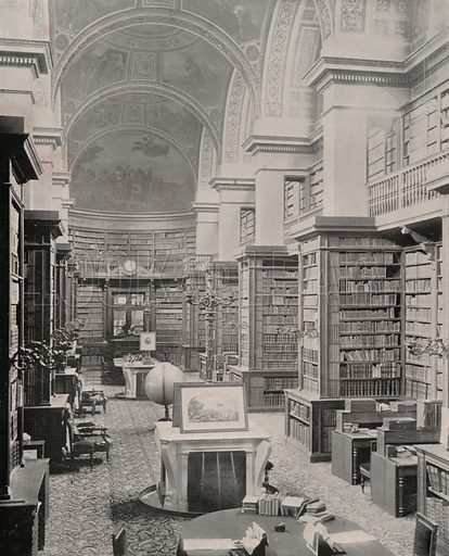 """Bibliotheque of the Chamber of Deputies. Illustration for Beautiful Paris with over 400 views taken by Mr A Pepper, Official Photographer of the French Government, with introduction by J W Buel (Arkell Weekly, 1894).  No further info found on """"Mr A Pepper""""."""
