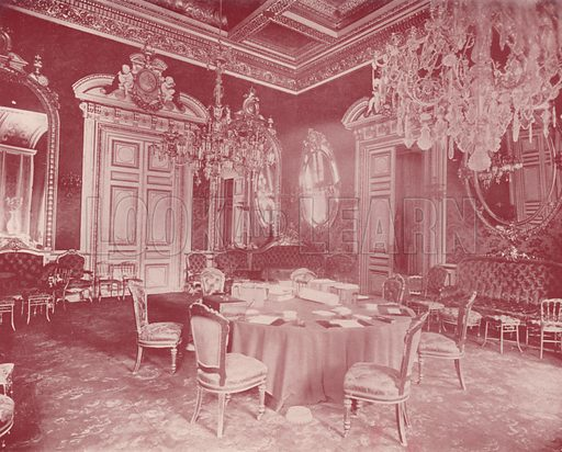 """Conference Room, Ministry of Foreign Affairs. Illustration for Beautiful Paris with over 400 views taken by Mr A Pepper, Official Photographer of the French Government, with introduction by J W Buel (Arkell Weekly, 1894).  No further info found on """"Mr A Pepper""""."""