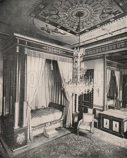 """Bed of the Empress Josephine in the German Embassy Building. Illustration for Beautiful Paris with over 400 views taken by Mr A Pepper, Official Photographer of the French Government, with introduction by J W Buel (Arkell Weekly, 1894).  No further info found on """"Mr A Pepper""""."""