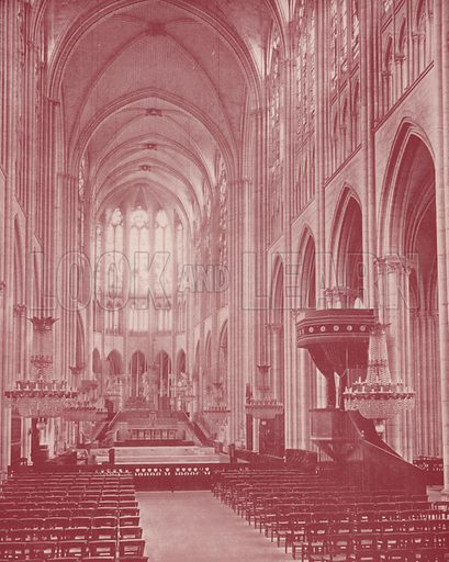 """Cathedral, or Basilica, of St Denis. Illustration for Beautiful Paris with over 400 views taken by Mr A Pepper, Official Photographer of the French Government, with introduction by J W Buel (Arkell Weekly, 1894).  No further info found on """"Mr A Pepper""""."""