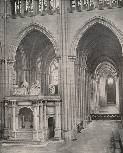 """Left Nave of the Cathedral of St Denis. Illustration for Beautiful Paris with over 400 views taken by Mr A Pepper, Official Photographer of the French Government, with introduction by J W Buel (Arkell Weekly, 1894).  No further info found on """"Mr A Pepper""""."""