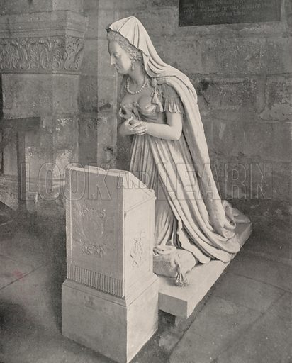 """Effigy and Tomb of Marie Antoinette. Illustration for Beautiful Paris with over 400 views taken by Mr A Pepper, Official Photographer of the French Government, with introduction by J W Buel (Arkell Weekly, 1894).  No further info found on """"Mr A Pepper""""."""