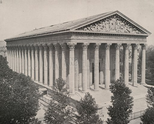 """Exterior of the Church of the Madeleine. Illustration for Beautiful Paris with over 400 views taken by Mr A Pepper, Official Photographer of the French Government, with introduction by J W Buel (Arkell Weekly, 1894).  No further info found on """"Mr A Pepper""""."""