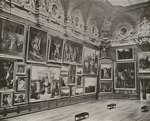 """The New French Gallery, Louvre Museum. Illustration for Beautiful Paris with over 400 views taken by Mr A Pepper, Official Photographer of the French Government, with introduction by J W Buel (Arkell Weekly, 1894).  No further info found on """"Mr A Pepper""""."""