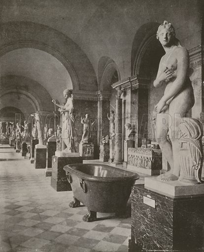 """Room of the Gladiator, Louvre Museum. Illustration for Beautiful Paris with over 400 views taken by Mr A Pepper, Official Photographer of the French Government, with introduction by J W Buel (Arkell Weekly, 1894).  No further info found on """"Mr A Pepper""""."""