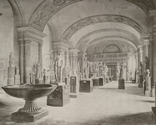 "Gallery of the Caryatides, Louvre Museum. Illustration for Beautiful Paris with over 400 views taken by Mr A Pepper, Official Photographer of the French Government, with introduction by J W Buel (Arkell Weekly, 1894).  No further info found on ""Mr A Pepper""."