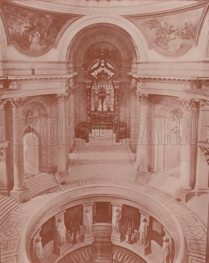 """Tomb of Napoleon and Altar. Illustration for Beautiful Paris with over 400 views taken by Mr A Pepper, Official Photographer of the French Government, with introduction by J W Buel (Arkell Weekly, 1894).  No further info found on """"Mr A Pepper""""."""