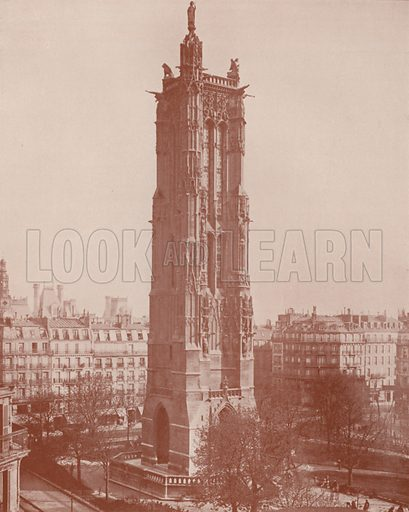 "The Tour Saint Jacques, St James. Illustration for Beautiful Paris with over 400 views taken by Mr A Pepper, Official Photographer of the French Government, with introduction by J W Buel (Arkell Weekly, 1894).  No further info found on ""Mr A Pepper""."