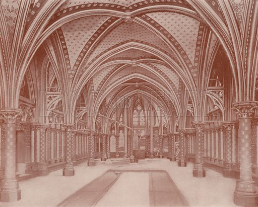 "Crypt of the Sainte Chapelle. Illustration for Beautiful Paris with over 400 views taken by Mr A Pepper, Official Photographer of the French Government, with introduction by J W Buel (Arkell Weekly, 1894).  No further info found on ""Mr A Pepper""."