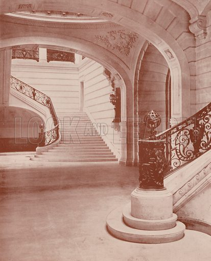 "Escalier of the Sorbonne. Illustration for Beautiful Paris with over 400 views taken by Mr A Pepper, Official Photographer of the French Government, with introduction by J W Buel (Arkell Weekly, 1894).  No further info found on ""Mr A Pepper""."