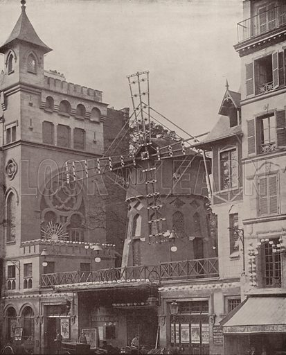 """Exterior of the Moulin Rouge. Illustration for Beautiful Paris with over 400 views taken by Mr A Pepper, Official Photographer of the French Government, with introduction by J W Buel (Arkell Weekly, 1894).  No further info found on """"Mr A Pepper""""."""