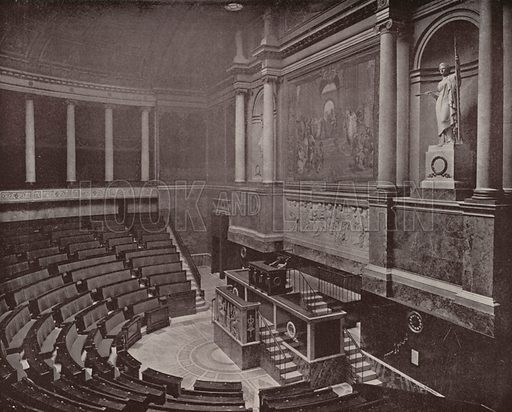 """Legislative Hall, Chamber of Deputies. Illustration for Beautiful Paris with over 400 views taken by Mr A Pepper, Official Photographer of the French Government, with introduction by J W Buel (Arkell Weekly, 1894).  No further info found on """"Mr A Pepper""""."""