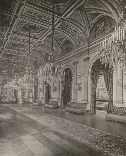 """Salle des Fetes, Palais Bourbon. Illustration for Beautiful Paris with over 400 views taken by Mr A Pepper, Official Photographer of the French Government, with introduction by J W Buel (Arkell Weekly, 1894).  No further info found on """"Mr A Pepper""""."""