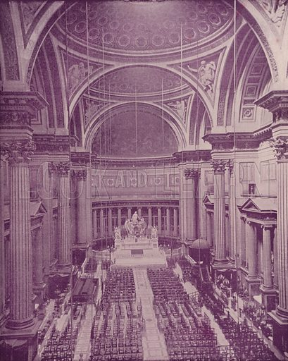 """Interior of the Church of the Medeleine. Illustration for Beautiful Paris with over 400 views taken by Mr A Pepper, Official Photographer of the French Government, with introduction by J W Buel (Arkell Weekly, 1894).  No further info found on """"Mr A Pepper""""."""