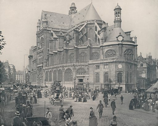 "The Church of St Eustache. Illustration for Beautiful Paris with over 400 views taken by Mr A Pepper, Official Photographer of the French Government, with introduction by J W Buel (Arkell Weekly, 1894).  No further info found on ""Mr A Pepper""."