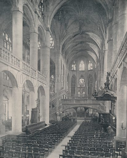 """Interior of St Etienne-du-Mont. Illustration for Beautiful Paris with over 400 views taken by Mr A Pepper, Official Photographer of the French Government, with introduction by J W Buel (Arkell Weekly, 1894).  No further info found on """"Mr A Pepper""""."""