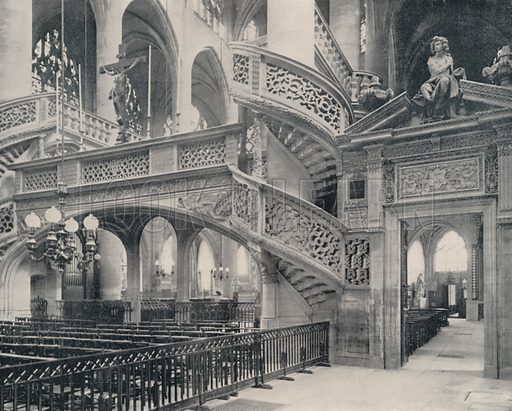 """Section of the Choir in St Etienne-du-Mont. Illustration for Beautiful Paris with over 400 views taken by Mr A Pepper, Official Photographer of the French Government, with introduction by J W Buel (Arkell Weekly, 1894).  No further info found on """"Mr A Pepper""""."""