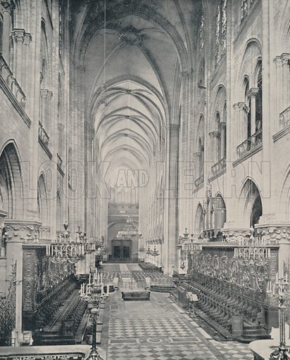 """The Interior of the Notre Dame Cathedral. Illustration for Beautiful Paris with over 400 views taken by Mr A Pepper, Official Photographer of the French Government, with introduction by J W Buel (Arkell Weekly, 1894).  No further info found on """"Mr A Pepper""""."""