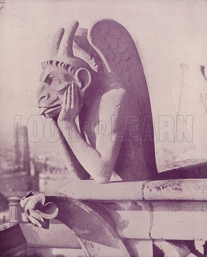 "A Chimera on the Balustrade of Notre Dame. Illustration for Beautiful Paris with over 400 views taken by Mr A Pepper, Official Photographer of the French Government, with introduction by J W Buel (Arkell Weekly, 1894).  No further info found on ""Mr A Pepper""."
