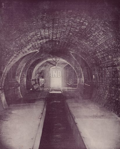 """A Section of a Sewer in Paris. Illustration for Beautiful Paris with over 400 views taken by Mr A Pepper, Official Photographer of the French Government, with introduction by J W Buel (Arkell Weekly, 1894).  No further info found on """"Mr A Pepper""""."""
