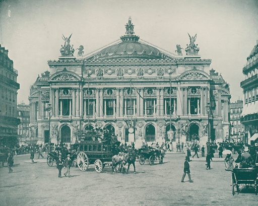 """Another View of the Opera House Facade. Illustration for Beautiful Paris with over 400 views taken by Mr A Pepper, Official Photographer of the French Government, with introduction by J W Buel (Arkell Weekly, 1894).  No further info found on """"Mr A Pepper""""."""