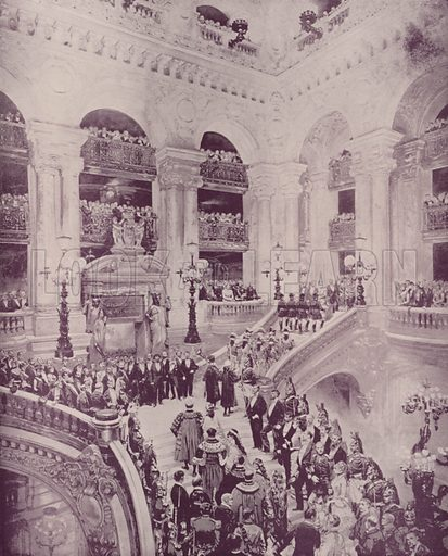 "Dedication of the Opera House. Illustration for Beautiful Paris with over 400 views taken by Mr A Pepper, Official Photographer of the French Government, with introduction by J W Buel (Arkell Weekly, 1894).  No further info found on ""Mr A Pepper""."