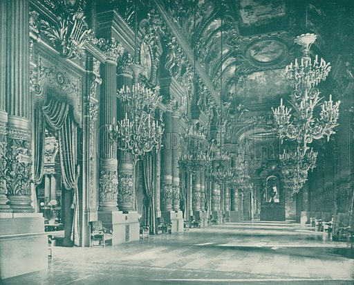 """Grand Foyer of the Opera House. Illustration for Beautiful Paris with over 400 views taken by Mr A Pepper, Official Photographer of the French Government, with introduction by J W Buel (Arkell Weekly, 1894).  No further info found on """"Mr A Pepper""""."""