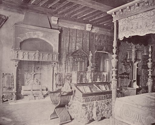 """Room of Francis I, Musee Cluny. Illustration for Beautiful Paris with over 400 views taken by Mr A Pepper, Official Photographer of the French Government, with introduction by J W Buel (Arkell Weekly, 1894).  No further info found on """"Mr A Pepper""""."""
