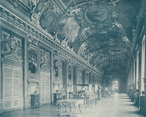"""Gallery of Apollo, Louvre Museum, looking North. Illustration for Beautiful Paris with over 400 views taken by Mr A Pepper, Official Photographer of the French Government, with introduction by J W Buel (Arkell Weekly, 1894).  No further info found on """"Mr A Pepper""""."""