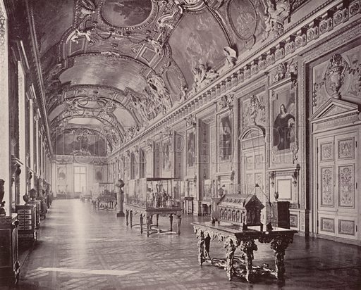 "Gallery of Apollo, Louvre Museum, looking South. Illustration for Beautiful Paris with over 400 views taken by Mr A Pepper, Official Photographer of the French Government, with introduction by J W Buel (Arkell Weekly, 1894).  No further info found on ""Mr A Pepper""."