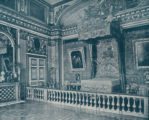"""Bed Room of Louis XIV, Versailles. Illustration for Beautiful Paris with over 400 views taken by Mr A Pepper, Official Photographer of the French Government, with introduction by J W Buel (Arkell Weekly, 1894).  No further info found on """"Mr A Pepper""""."""