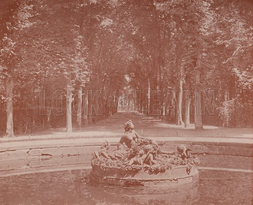 """Basin of Flora, Versailles Park. Illustration for Beautiful Paris with over 400 views taken by Mr A Pepper, Official Photographer of the French Government, with introduction by J W Buel (Arkell Weekly, 1894).  No further info found on """"Mr A Pepper""""."""