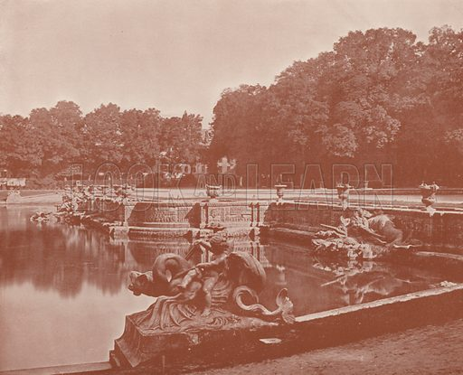 """Grand Basin of Neptune. Illustration for Beautiful Paris with over 400 views taken by Mr A Pepper, Official Photographer of the French Government, with introduction by J W Buel (Arkell Weekly, 1894).  No further info found on """"Mr A Pepper""""."""