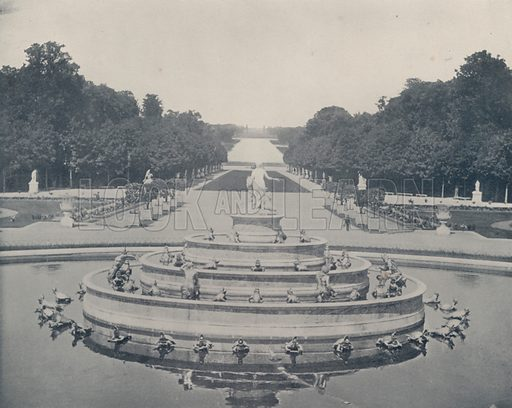 """Basin of Latone, Versailles Park. Illustration for Beautiful Paris with over 400 views taken by Mr A Pepper, Official Photographer of the French Government, with introduction by J W Buel (Arkell Weekly, 1894).  No further info found on """"Mr A Pepper""""."""
