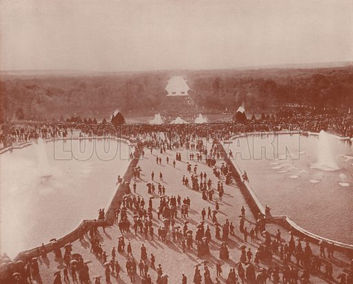 """General View, from the Palace, of the Grandes Eaux, Versailles. Illustration for Beautiful Paris with over 400 views taken by Mr A Pepper, Official Photographer of the French Government, with introduction by J W Buel (Arkell Weekly, 1894).  No further info found on """"Mr A Pepper""""."""