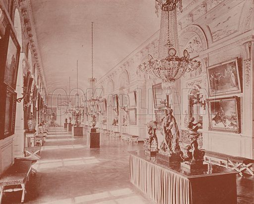 """Vestibule to the Gallery of the Grand Trianon, Versailles. Illustration for Beautiful Paris with over 400 views taken by Mr A Pepper, Official Photographer of the French Government, with introduction by J W Buel (Arkell Weekly, 1894).  No further info found on """"Mr A Pepper""""."""