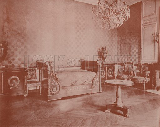 "Bedroom of Napoleon I, in the Grand Trianon. Illustration for Beautiful Paris with over 400 views taken by Mr A Pepper, Official Photographer of the French Government, with introduction by J W Buel (Arkell Weekly, 1894).  No further info found on ""Mr A Pepper""."