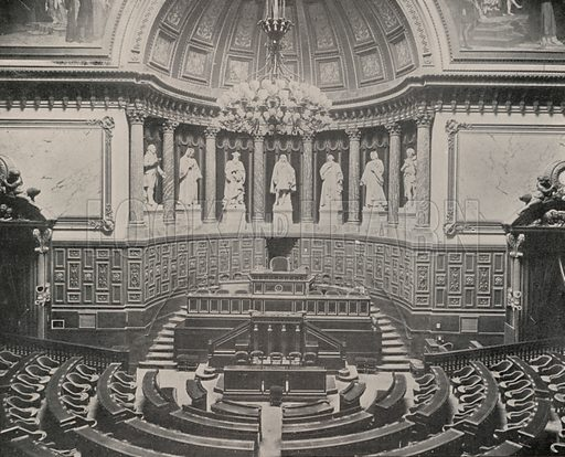 "Senate Chamber, Palace of the Luxembourg. Illustration for Beautiful Paris with over 400 views taken by Mr A Pepper, Official Photographer of the French Government, with introduction by J W Buel (Arkell Weekly, 1894).  No further info found on ""Mr A Pepper""."