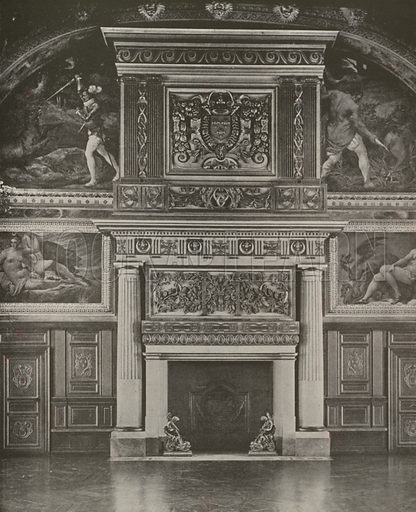 """Chimney-Piece in the Gallery of Henry II, Fontainebleau Palace. Illustration for Beautiful Paris with over 400 views taken by Mr A Pepper, Official Photographer of the French Government, with introduction by J W Buel (Arkell Weekly, 1894).  No further info found on """"Mr A Pepper""""."""