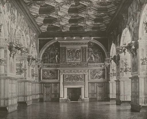 """Salle des Fetes, Palace of Fontainebleau. Illustration for Beautiful Paris with over 400 views taken by Mr A Pepper, Official Photographer of the French Government, with introduction by J W Buel (Arkell Weekly, 1894).  No further info found on """"Mr A Pepper""""."""