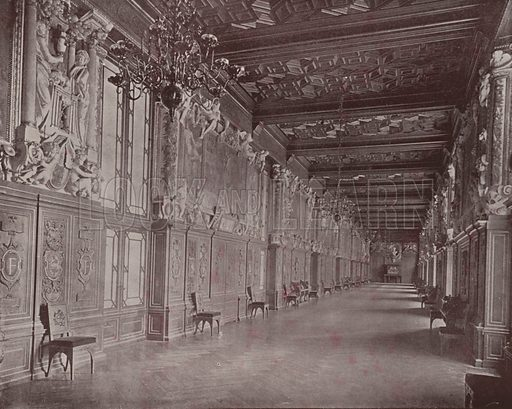 """Gallery of Francis I, Fontainebleau Palace. Illustration for Beautiful Paris with over 400 views taken by Mr A Pepper, Official Photographer of the French Government, with introduction by J W Buel (Arkell Weekly, 1894).  No further info found on """"Mr A Pepper""""."""