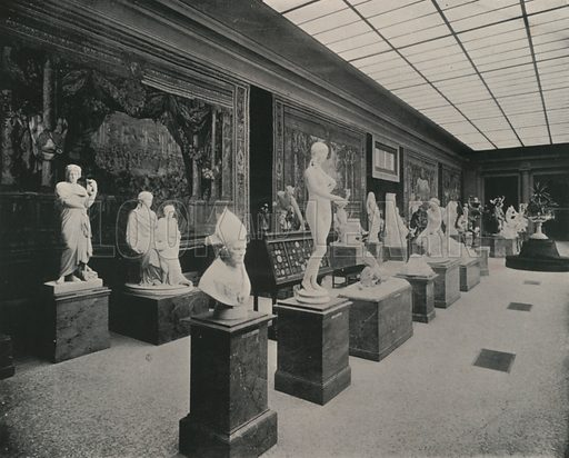 """Luxembourg Palace, Hall of Statuary. Illustration for Beautiful Paris with over 400 views taken by Mr A Pepper, Official Photographer of the French Government, with introduction by J W Buel (Arkell Weekly, 1894).  No further info found on """"Mr A Pepper""""."""