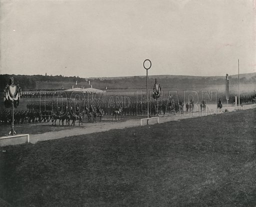 """A Military Review at Longchamps. Illustration for Beautiful Paris with over 400 views taken by Mr A Pepper, Official Photographer of the French Government, with introduction by J W Buel (Arkell Weekly, 1894).  No further info found on """"Mr A Pepper""""."""